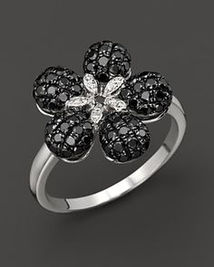 Black And White Diamond Flower Ring In 14K White Gold, 1.20 ct. | Bloomingdale's