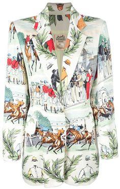 Hermès Vintage Horse Racing Print Jacket