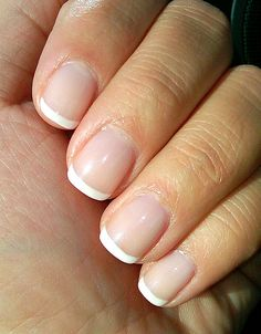 shellac french manicure - lasts for weeks, not days! Well worth the extra charge.