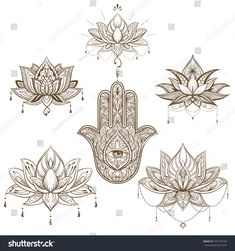 lotus flower and hamsa set . Vector. boho style, yoga, india, sketch for tattoo