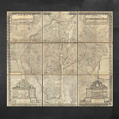 20% OFF - This week only! 9 Panelled Map of Paris  #vintagemaps