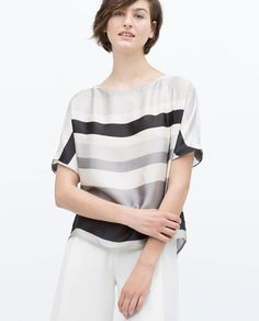 ZARA - WOMAN - KIMONO SLEEVE STRIPED BLOUSE