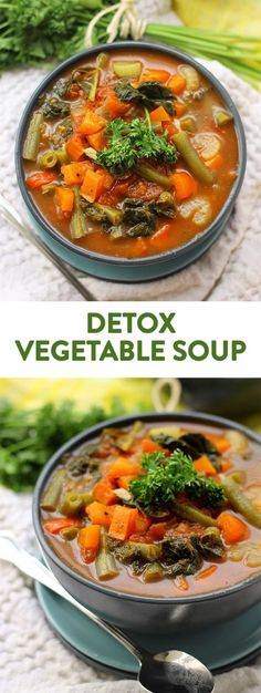 Detox Vegetable Soup - Need to detox from a day of sweets or a night of drinking? Try getting that fresh start from this nutrient packed Detox Vegetable Soup recipe. With eight different types of vegetables, you are sure to get the detox you're craving. Healthy Recipes, Detox Recipes, Vegetarian Recipes, Cooking Recipes, Healthy Soups, Delicious Recipes, Easy Recipes, Detox Vegetable Soup, Vegetable Soup Recipes