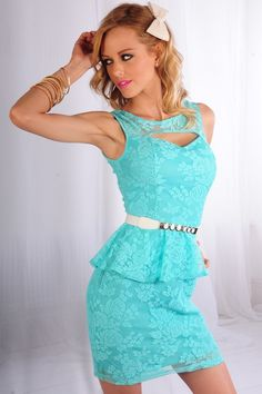 MINT LACE PEPLUM DRESS WITH OPEN FRONT DESIGN  This gorgeous peplum dress features a front open design, padded bra, lace over lay, sleeveless, zipper back. 100% Polyester.