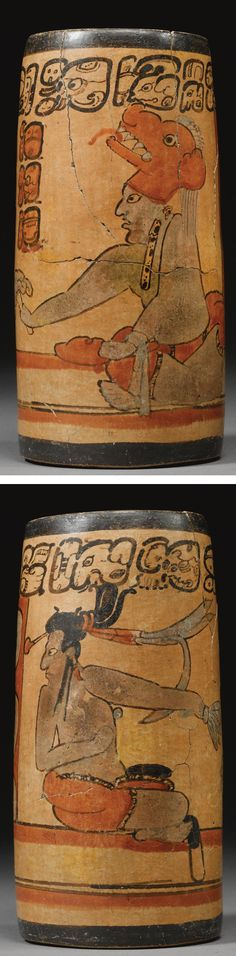 """A Maya polychrome vessel, Late Classic, Mexico, ca. 550-950 CE. The tapering form painted with two lords seated between columns and exchanging bundles of feathers and ritual flowers, one figure wearing a large jaguar head with spotted pelt of skin as ear ornament, the other figure with long dark coiffure wrapped in quetzal plumes, a column of secondary glyphs including ahau, """"lord,"""" and primary sequence boldly painted above."""