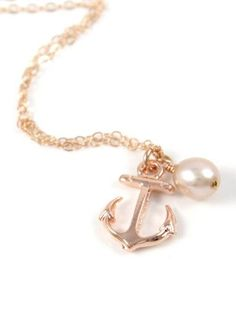 Lucky Rose Gold Anchor necklace simple rose gold