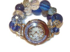 Sapphire Blue Chunky Beaded Watch Sapphire Beaded by BeadsnTime, $30.00