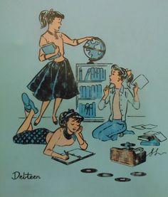 Family Illustration, Creative Illustration, Retro Kids, Retro Art, Vintage Cartoon, Retro Vintage, Vintage Ponytail, Notebook Binder, Record Players
