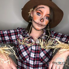 Vogelscheuchen Kostüm selber machen Inspiration & accessories with which you can easily make your scarecrow costume yourself. Diy Scarecrow Costume, Scarecrow Halloween Makeup, Halloween Costumes Scarecrow, Looks Halloween, Halloween Magic, Scary Costumes, Halloween Outfits, Halloween Diy, Scarecrow Face Paint