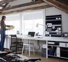Ikea desk set up via Ikea Family Live by janell