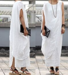 Maxi Linen Dress in white by JM521 on Etsy, $129.00