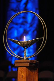 A flame within a chalice is the symbol of Unitarian Universalist faith.