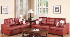 New Poundex Bobkona Sherman Bonded Leather Sofa Loveseat Set, Burgundy online - Lovetopfashion