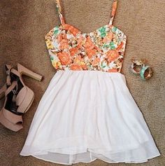 Floral tank top with white skirt<3