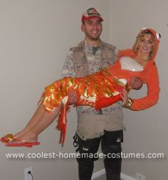 Homemade Fisherman and his Catch Couple Halloween Costume Idea: My now fiance and I always carve pumpkins for Halloween. So the weekend before Halloween we went and bought our pumpkins. He always carves the tops off