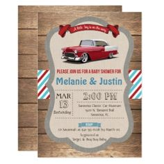 Find customizable Classic Car Baby Shower invitations & announcements of all sizes. Pick your favorite invitation design from our amazing selection. Cars Birthday Invitations, Surprise Party Invitations, Baby Shower Invitations For Boys, Invites, 30th Birthday Parties, Man Birthday, Surprise Birthday, Retro Baby Showers, Baby Boy Shower