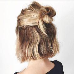 """LOVING the super casual and funky fun """"bob bun"""" this summer! #Hair #Short #Blonde #Bob #Bun #Warrnambool #Summer #SapphireHair #3280"""