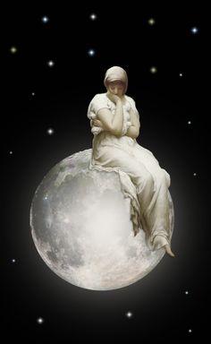 Contemplating on la luna Moon Moon, Sun Moon Stars, Sun And Stars, Moon Art, Full Moon, Frederick Leighton, Animated Gifs, Moon Dance, Paper Moon