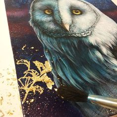 Gold leaf ✨💫 #wip #painting #owlart #oilpainting #art #artist…