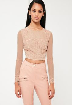 Missguided - Peace   Love Nude Embellished Crop Top