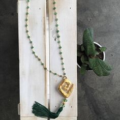 Aventurine Adventure Wire Wrapped Chain and  Hammered Pendant