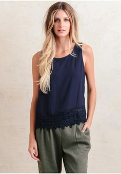 In The End Lace Accent Top  at shopruche.com