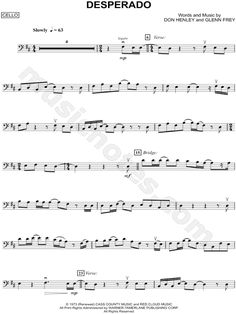 Print and download Desperado - Cello sheet music by The Eagles arranged for Cello. Instrumental Solo, and Instrumental Part in D Major.
