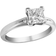 98df5f1c88f576 princess cut diamond engagement ring with a small round brilliant cut  diamond set each side. Designed & manufactured by Avanti