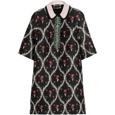 Giambattista Valli Crystal-embellished jacquard mini dress (1,590 CAD) ❤ liked on Polyvore featuring dresses, black, green dress, short green cocktail dress, embellished cocktail dress, short floral dresses and floral cocktail dresses