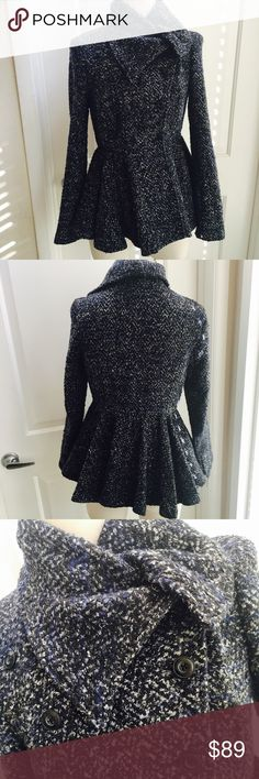 """Free People Tailored Boucle Jacket Super pretty tailored jacket with side button and oversized collar . Tagged 8 but measures a bit smaller in waist , as follows : 19"""" flat bust,24"""" length , 24"""" sleeve . Content is : 80 poly ,24 cotton, 10 acrylic. In excellent condition . Please send reasonable offers privately. No trades. Free People Jackets & Coats Pea Coats"""