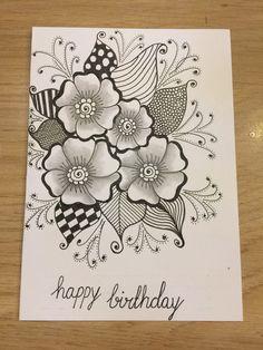 Zentangle card zentangle в 2019 г. Doodle Designs, Stencil Designs, Zen Doodle, Doodle Art, Tangled Flower, Pencil Drawings Of Flowers, Zentangle Patterns, Zentangles, Flower Doodles