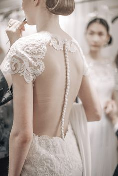 Backstage at Marchesa Spring 2016 Bridal / Photo: The LANE