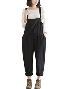 513473cda26c Yeokou Women s Loose Baggy Linen Wide Leg Jumpsuit Rompers Overalls Harem  Pants Harem Pants