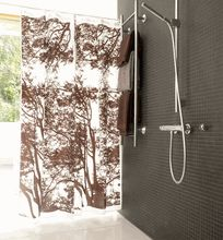 Brown or gray shower curtain--both nice. Marimekko Shower Curtain, Gray Shower Curtains, Contemporary Shower, Outdoor Bathrooms, Scandinavian Modern, Cool Designs, Inspiration, Spaces, Decorating
