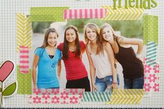 Use little strips of washi tape to make a frame for a picture on your scrapbook page!