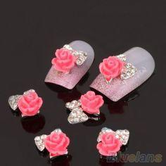 10 PCS mulheres Zircon liga Bow 3D dicas Nail Art Stickers decoração jóias DIY 0BZE alishoppbrasil