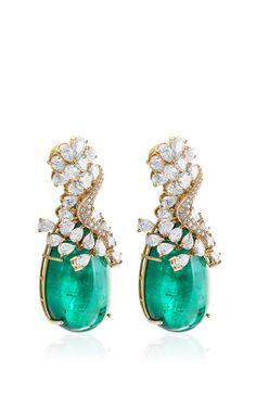 Farah Khan Zambian Emerald Earrings by Farah Khan Fine Jewelry for Preorder on Moda Operandi