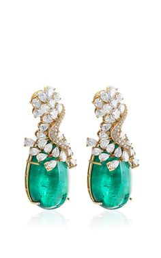Farah Khan Zambian Emerald Earrings by Farah Khan Fine Jewelry for Preorder on Moda Operandi