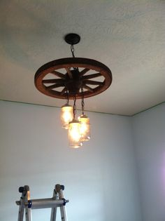 Old Wagon Wheel And Mason Jar Light/chandelier