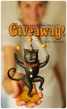 Giveaway from Johanna Parker Design @ Blogspot! Winner takes home this signed black cat character, signed by designer, Johanna Parker.  Read more & enter to win at:  www.johannaparkerdesign.blogspot.com/