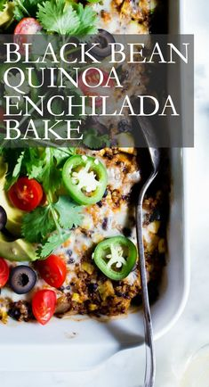 Chock full of veggies, black beans, cheese and homemade enchilada sauce, Quinoa Enchilada Bake with Black Beans is a fabulous vegetarian casserole to feed a small crowd. This Mexican quinoa recipe is freezer friendly and makes for easy leftovers. This recipe is vegetarian and gluten free.