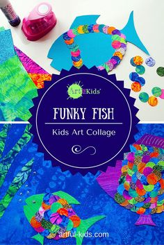 Funky Fish Art Collages - a simple collaborative or drop-in workshop project for kids. Also great for Arty Parties!