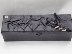 Magic The Gathering Dragon Card Storage Stash Box Black Leather LAP RPG Cosplay $75.00 Female Dragon, Deck Box, Magic Box, Card Storage, Magic Cards, Leather Books, Bright Purple, My Dear Friend, Black Felt