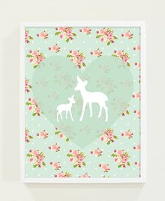 Heart Mint Green Nursery Art Pink Floral Deer Kids