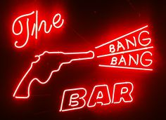 """""""The Bang Bang Bar"""" by Rick Zar - 2' x 3' neon sign mounted on plexi. From the Twin Peaks: Fire Walk With Me 20th Anniversary group art exhibition at the Copro Nason Art Gallery, Santa Monica, CA April/May 2012."""