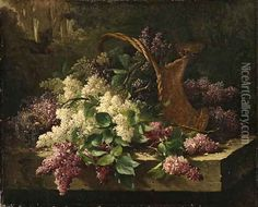 A still life with lilacs in a basket and a birds nest Oil Painting, Emile Claus Oil Paintings - NiceArtGallery.com
