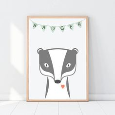 Badger print Woodland animals Woodland nursery decor Pastel