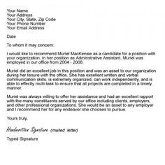 14 best reference letter for coworker images on pinterest letter sample letter of recommendation from your boss or supervisor spiritdancerdesigns Image collections