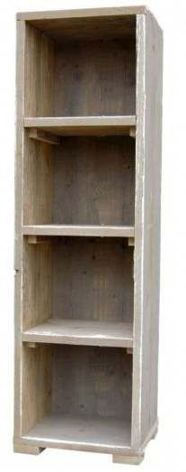 Smal model vakkenkast van steigerhout. whitewash steigerhout kast
