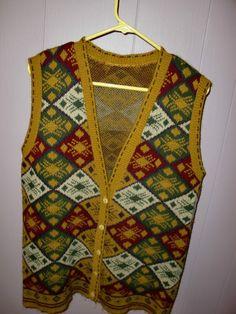 Vintage Southwestern Sweater Dress Vest Native Aztec Pattern Winter Women's M L | eBay